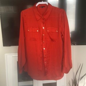 Sierra orange button front blouse